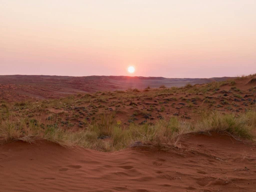 Coucher de soleil à Elim Dune