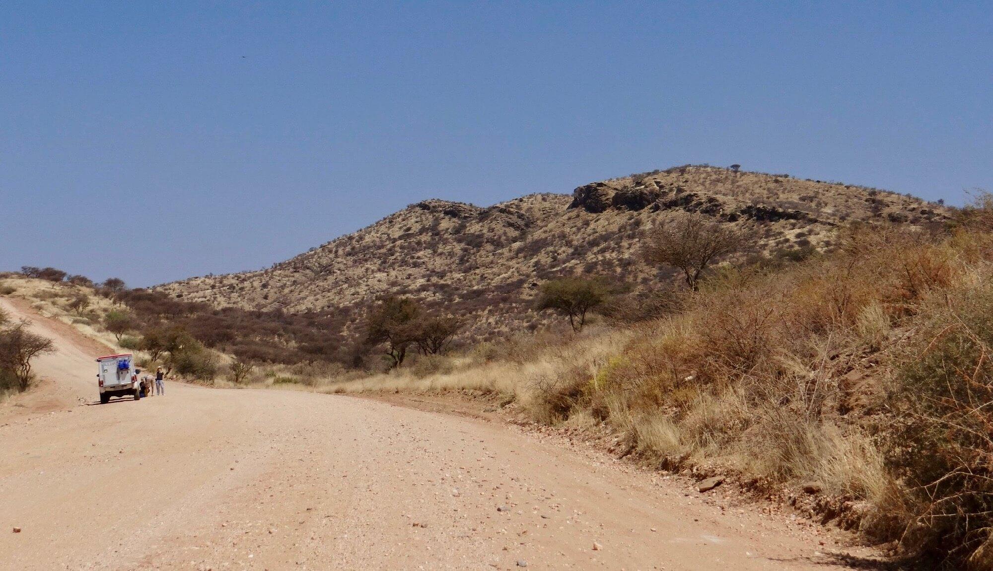 Première piste en Namibie entre Windhoek et Gecko Camp