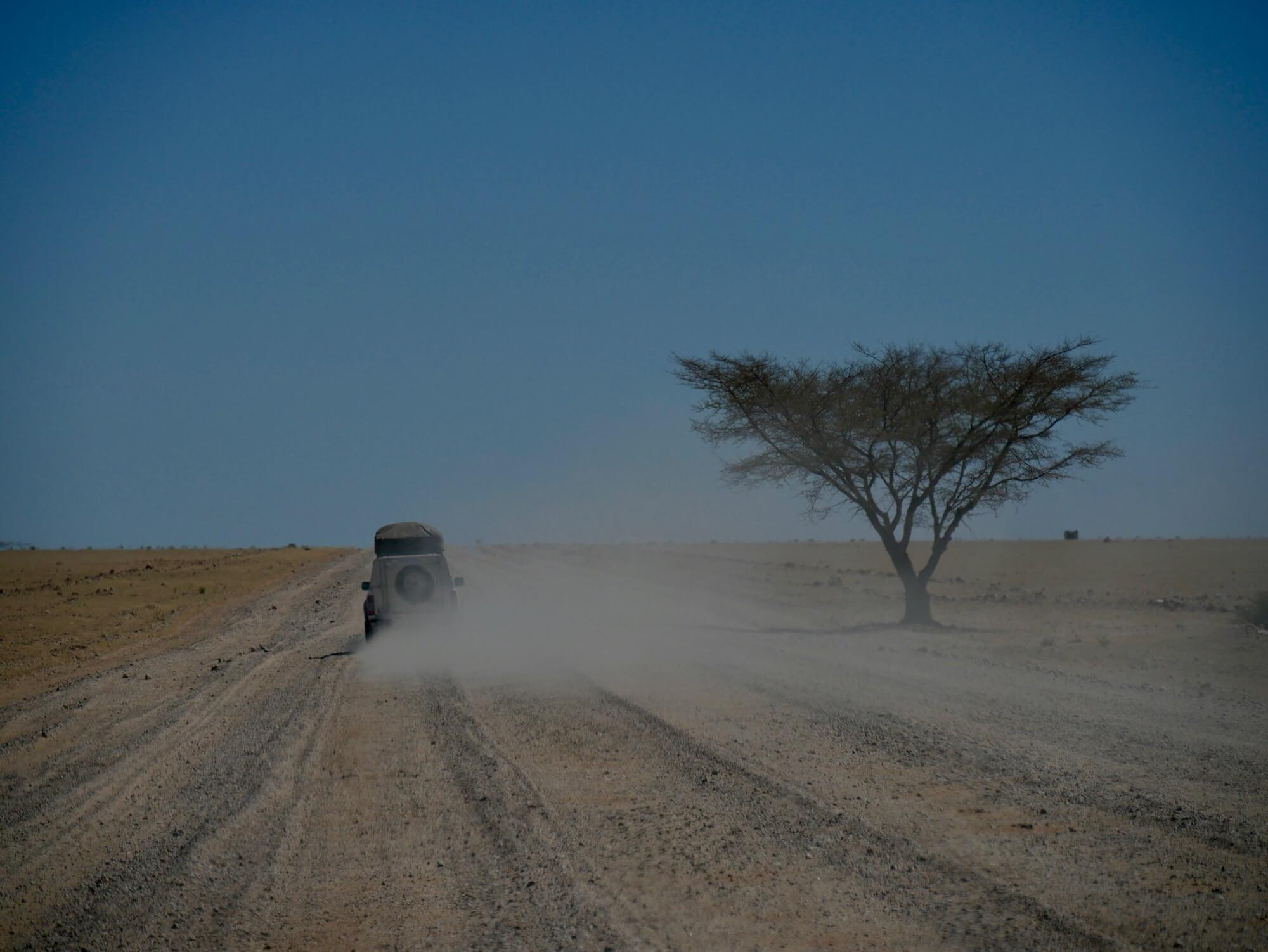 4x4 soulevant beaucoup de poussière sur les pistes de Namibie