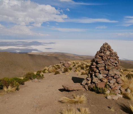 Vue sur le salar de Uyuni depuis le volcan Tunupa
